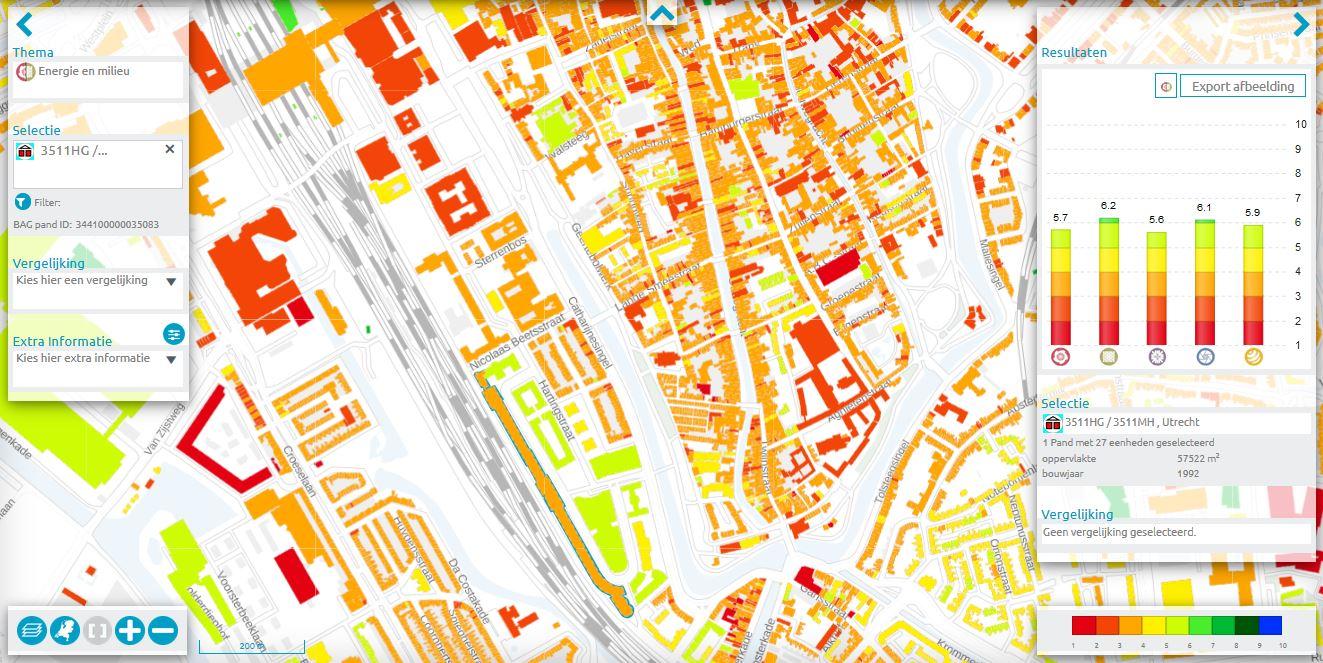 Kaart GPR Vastgoed met resultaat op thema's Energie en Milieu
